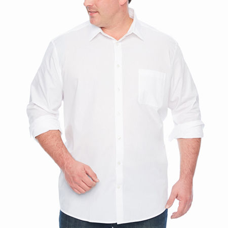 Claiborne Big and Tall Mens Long Sleeve Button-Down Shirt, Large Tall , White