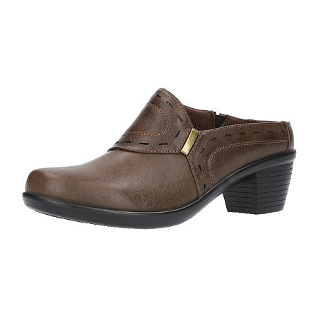 Easy Street Womens Cynthia Mules, 12 Wide, Brown
