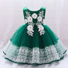 Toddler Girls Pearls Appliques Mesh Panel Gown Dress