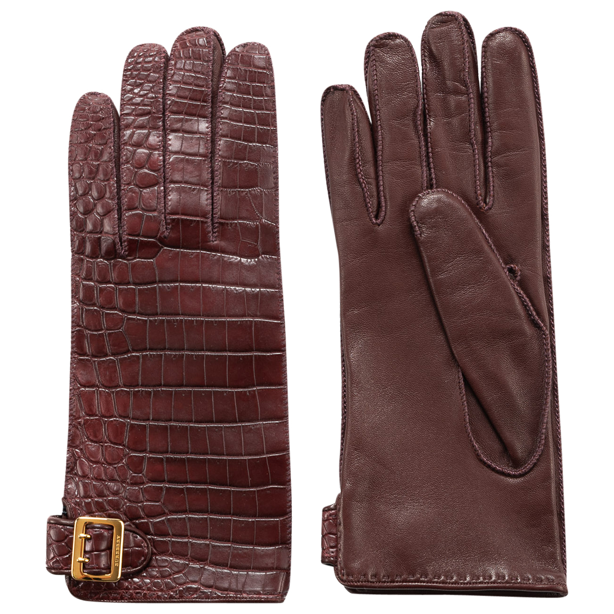 Burberry N Burgundy Gloves for Women 7.5 Inches