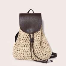 Braided Drawstring Decor Flap Backpack