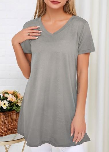 Light Grey Short Sleeve V Neck T Shirt - L