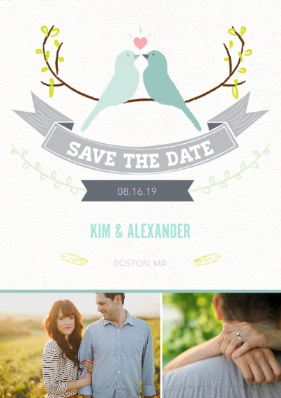 Save the Date 5x7 Cards, Premium Cardstock 120lb with Rounded Corners, Card & Stationery -Lovebirds Save the Date