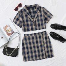 Bluse mit einem Knopf und Karo Muster & Rock Set