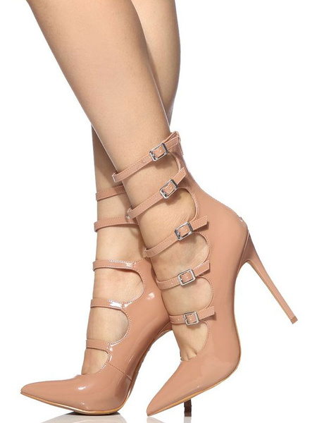 Milanoo Nude High Heels Women Pointed Toe Buckle Detail Strappy Pumps