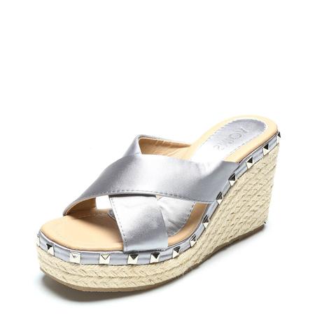 Yoins Grey Cross Front Rivet Embellished Wedge Slippers