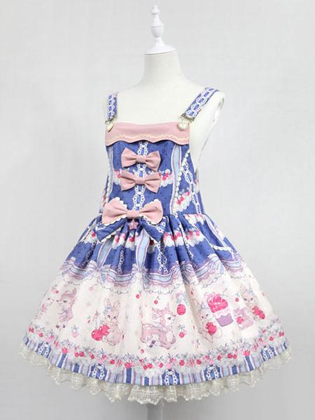 Milanoo Sweet Lolita Dress Neverland Cherry Deer JSK Pink Printed Lolita Jumper Skirt Original Design