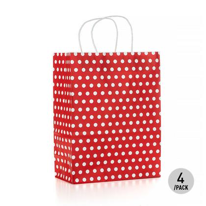 Gift Kraft Paper Polka Dot Bag - Large, Red 4Pcs - LIVINGbasics™