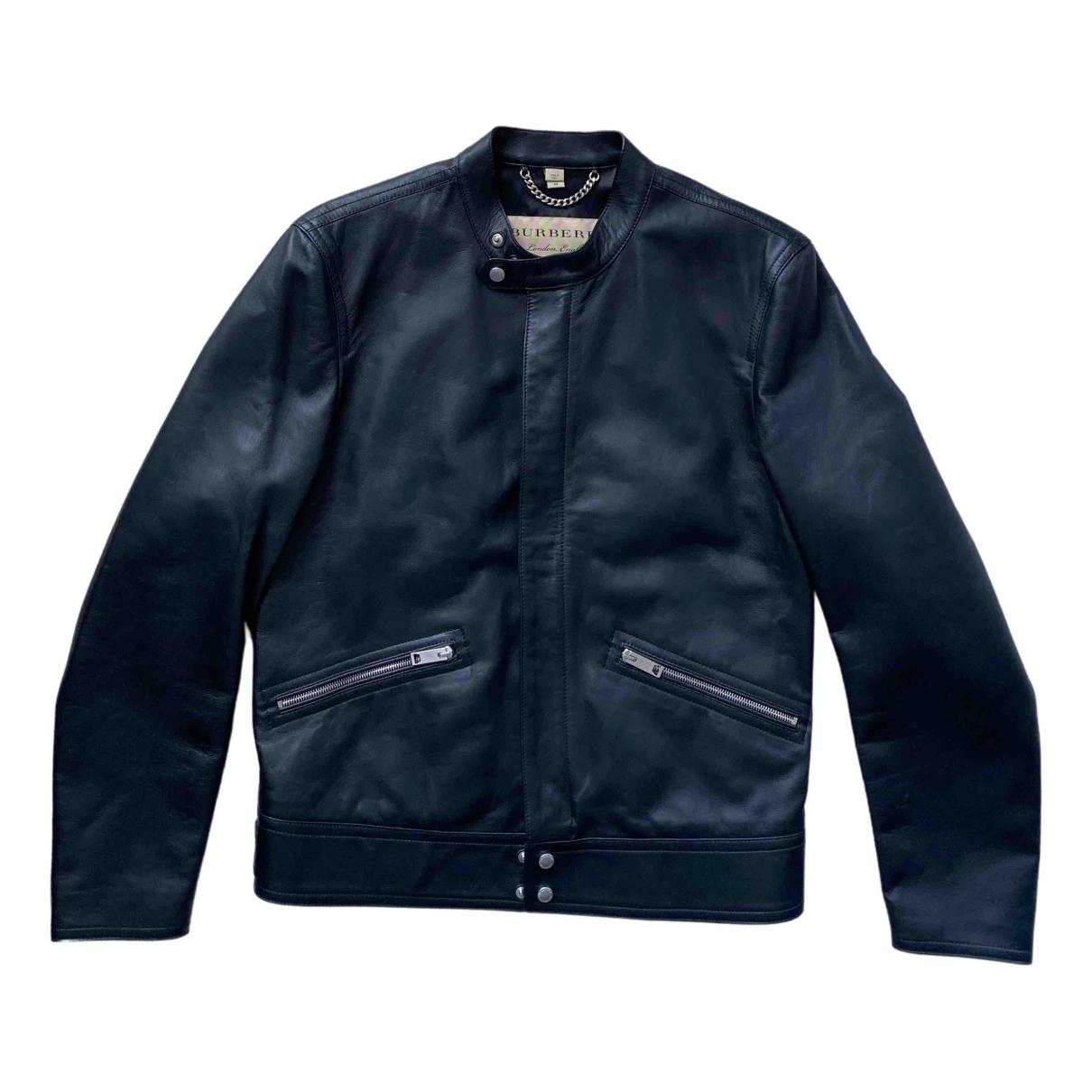 Burberry \N Jacke in  Schwarz Leder