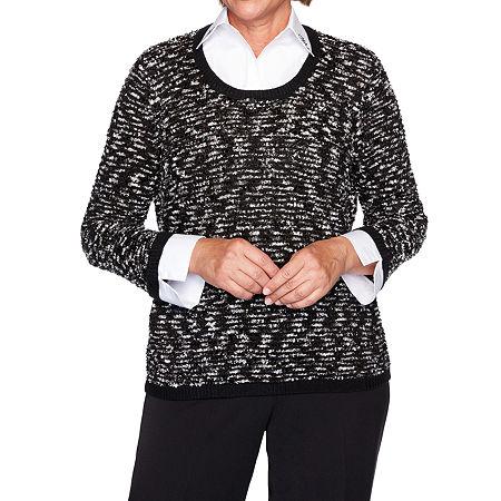Alfred Dunner Knightsbridge Station Womens Long Sleeve Layered Sweaters, Medium , Black