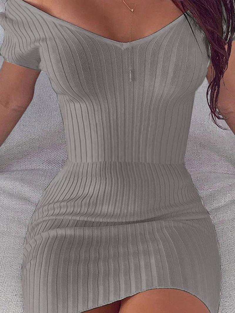 Ericdress Short Sleeve Above Knee V-Neck Pullover Regular Dress