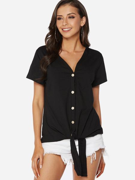 Yoins Black Lace-up Design Plain V-neck Button Design Short Sleeves Tee