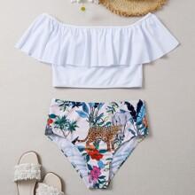 Schulterfreier Bikini Badeanzug mit Blumen & Tier Muster und Ruesche