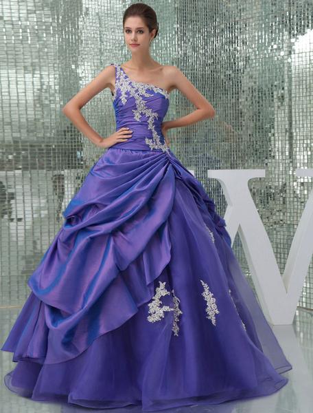 Milanoo Vestidos de fiesta largos Baile de un solo hombro vestido rebordear apliques tafetan plisado piso longitud vestido de quinceañera