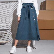 Paperbag Waist Button Front Belted Skirt
