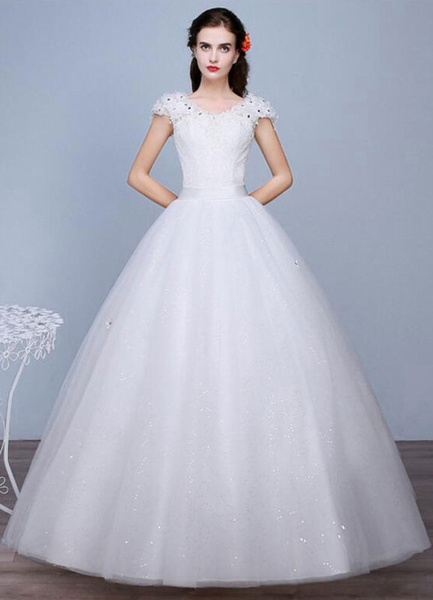Milanoo Ivory Wedding Dress Sequined Lace V Neck Short Sleeve A-Line Floor Length Bridal Gown