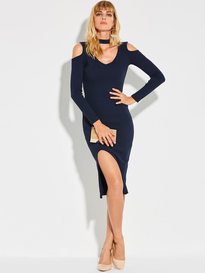 Ericdress V-Neck Cold-Shoulder With Side Slit Bodycon Dress