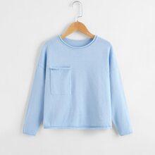 Pullover mit Taschen vorn und ungesaeumtem Saum
