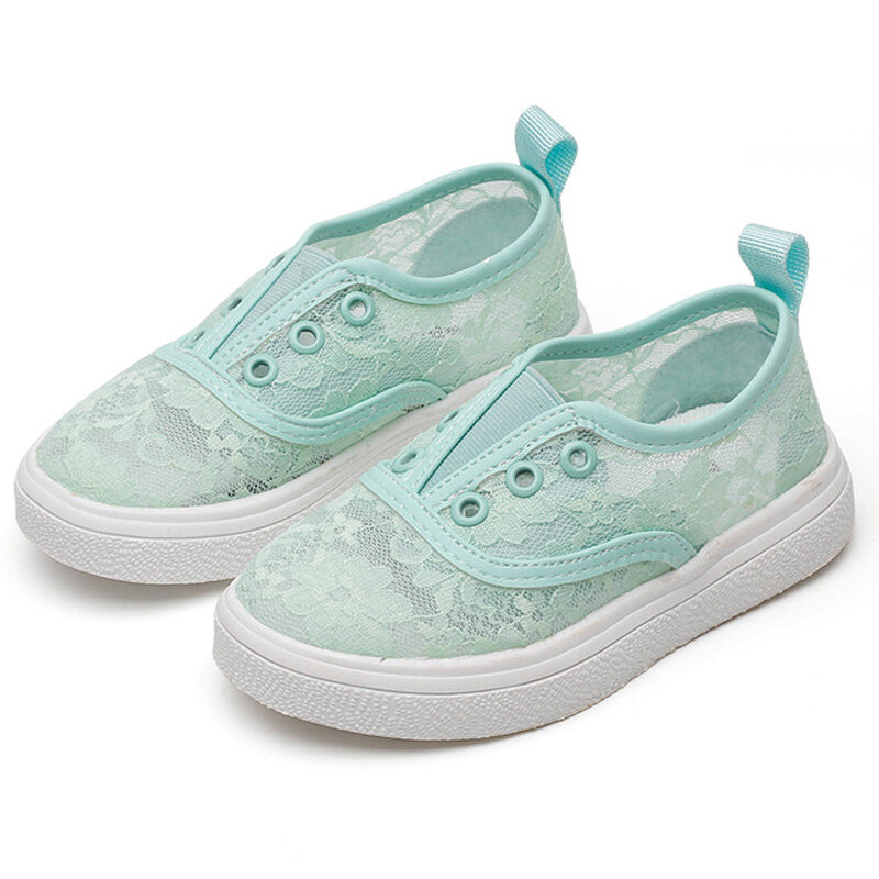 Girls Flower Lace Breathable Low Top Soft Sole Casual Slip On Skate Shoes
