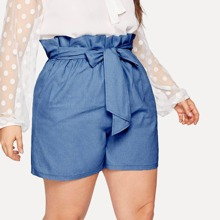 Plus Paperbag Waist Tie Front Denim Shorts