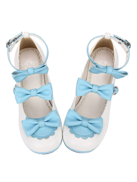Milanoo Sweet Lolita Shoes Bow Strappy Chunky High Heel Deep Brown Lolita Footwear