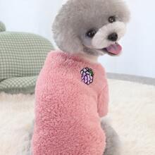1pc Grape Patched Dog Plush Sweatshirt