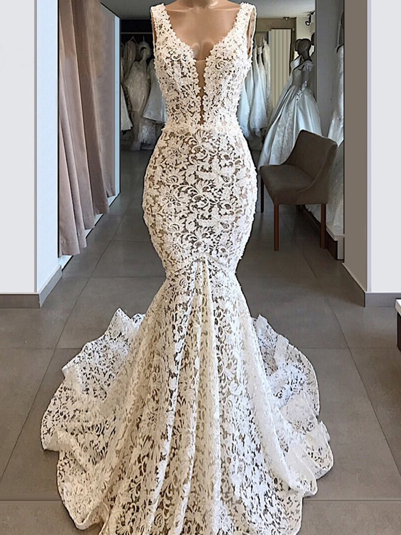 Ericdress Straps Court Lace Sleeveless Evening Dress 2020