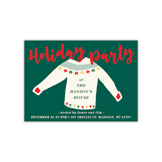 20 Pack of Gartner Studios® Personalized Ugly Sweater Flat Holiday Invitation in Pine | 5