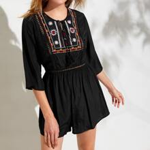 Tassel Tie Embroidered Yoke Lace Insert Romper