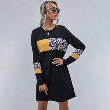 Kleid mit Leopard Muster und Farbblock
