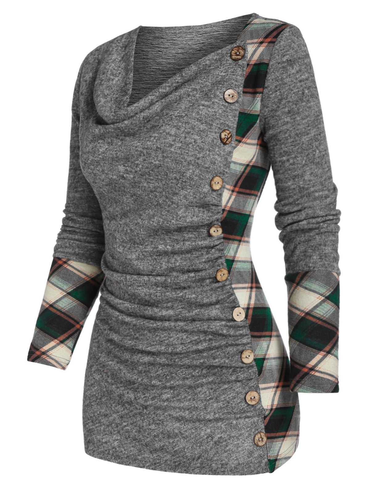 Cowl Neck Mock Button Plaid Panel Knitted T Shirt