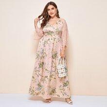 Plus Lace Raglan Sleeve Floral Print Maxi Dress
