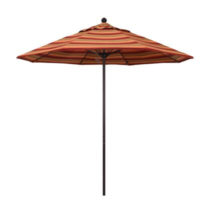 ALTO908117-56095 9' Venture Series Commercial Patio Umbrella With Bronze Aluminum Pole Fiberglass Ribs Push Lift With Sunbrella 2A Astoria Sunset