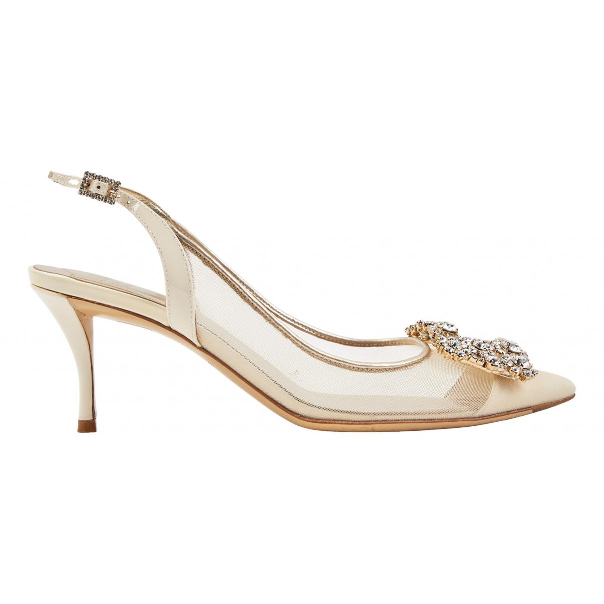 Roger Vivier N Ecru Cloth Heels for Women 37 EU
