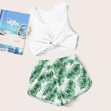 Tropical Twist Front Shorts Bikini Swimsuit