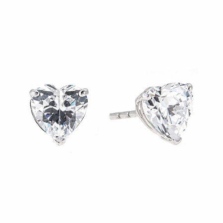 White Cubic Zirconia 14K Gold 6mm Stud Earrings, One Size , No Color Family