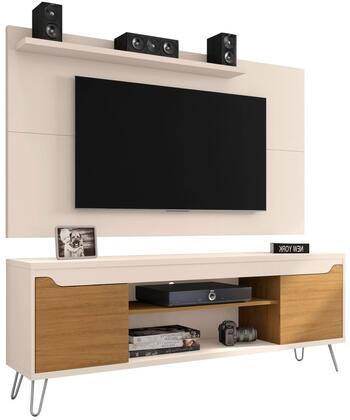 Baxter and Liberty Collection 221-217BMC121 Set of 2 Entertainment Centers with 2 Handleless Doors  3 Media Shelves  Splayed Wire Metal Legs and