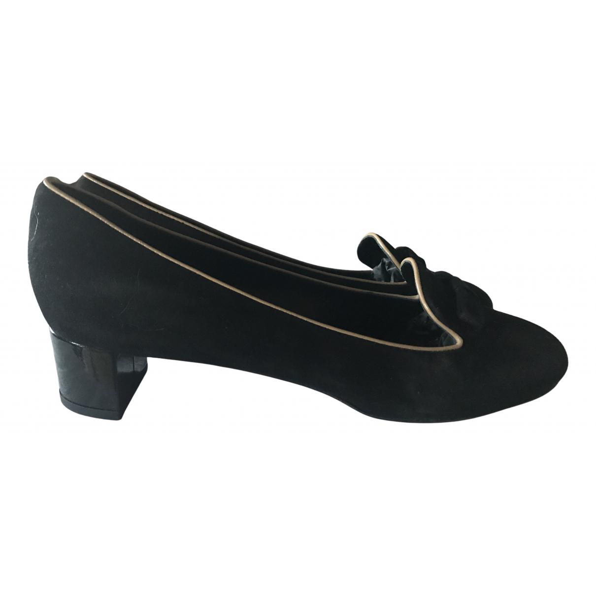 Louis Vuitton N Black Suede Heels for Women 38.5 IT