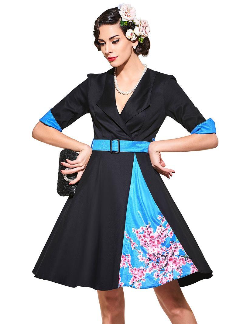 Ericdress V-Neck Long Sleeve Vintage A Line Dress