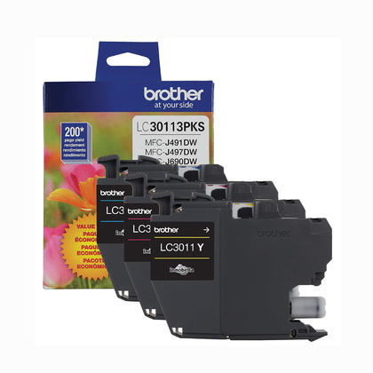 Brother LC30113PKS Original Color Ink Cartridge Combo C/M/Y