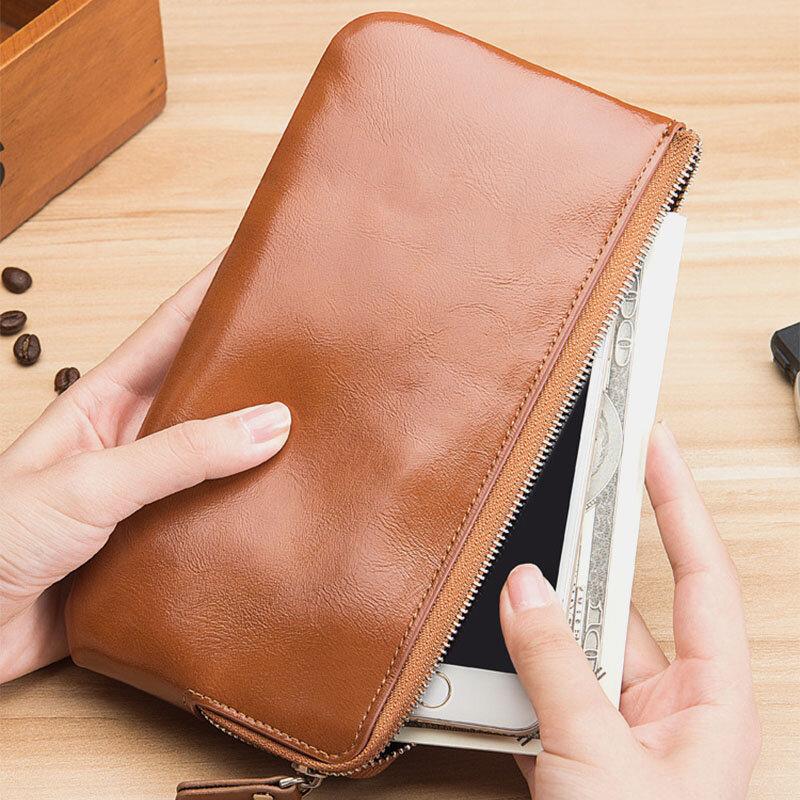 Men Slim 6Card Slots Zipper 6.3inch Phone Long Wallet