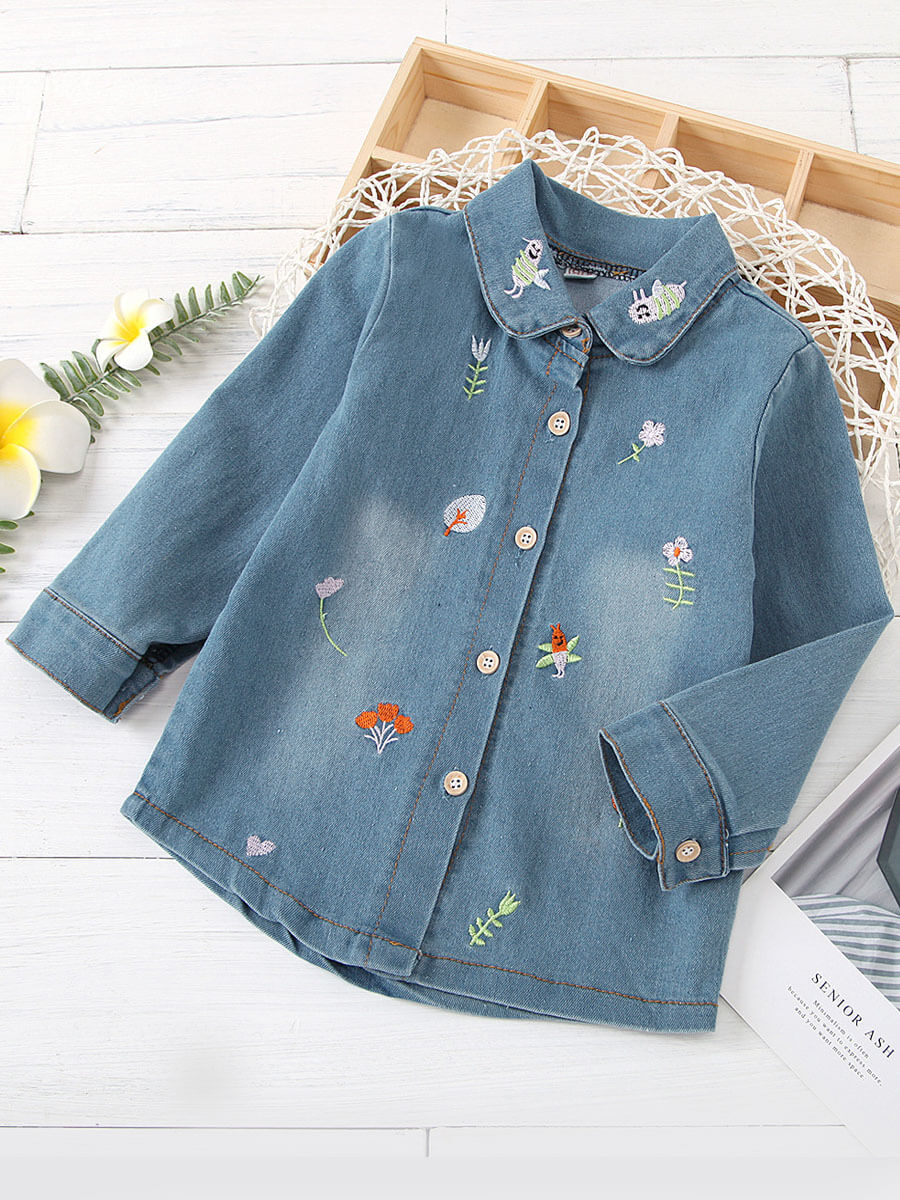 LW Lovely Stylish Shirt Collar Embroidered Baby Blue Girl Blouse