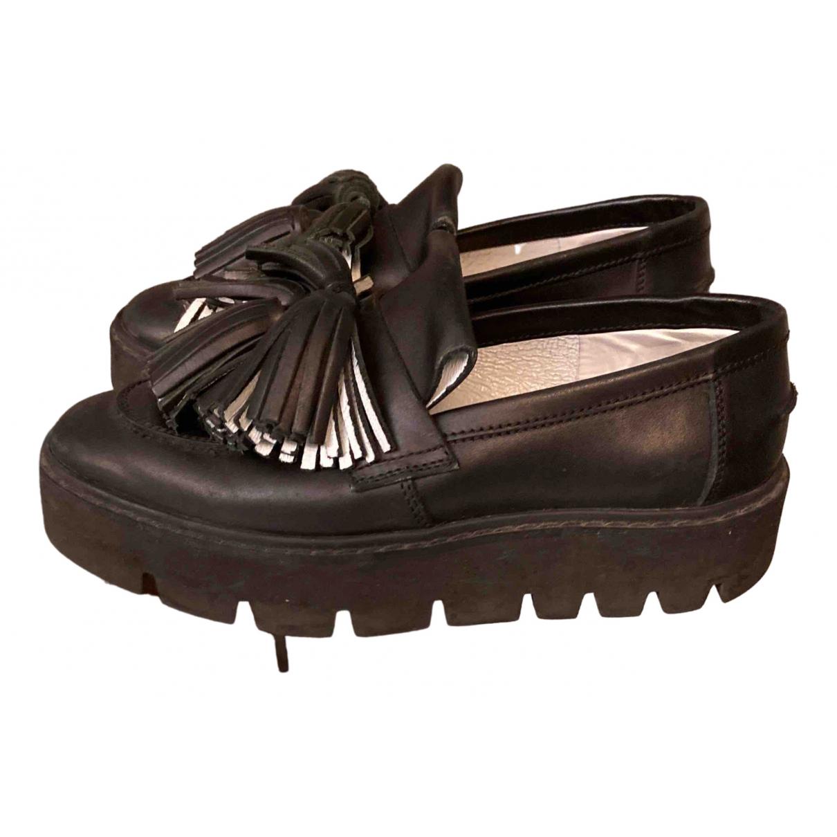 Maison Martin Margiela \N Black Leather Flats for Women 37 EU
