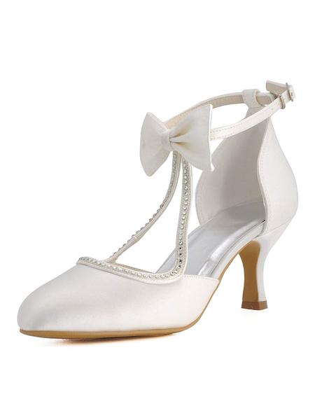 Milanoo Ivory Wedding Shoes Satin Round Toe Rhinestones Bow Vintage Bridal Shoes
