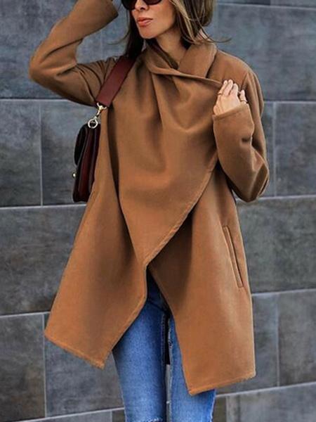 Milanoo Abrigo cruzado de mujer Caqui Cuello vuelto Mangas largas Abrigos de invierno casuales