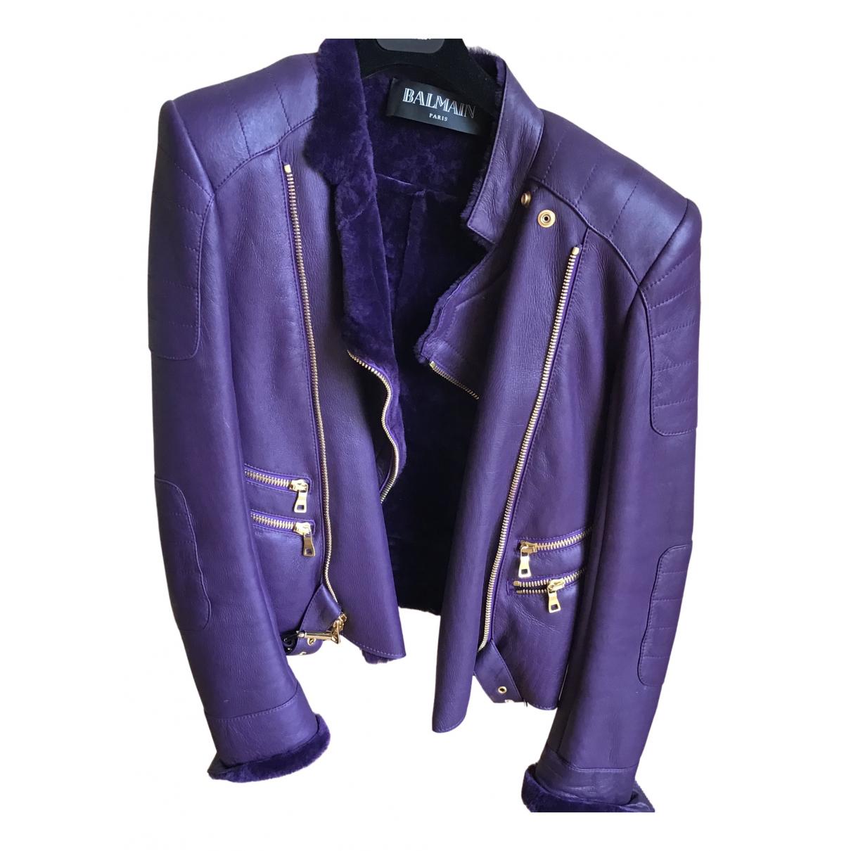Balmain N Purple Leather Leather jacket for Women 40 FR