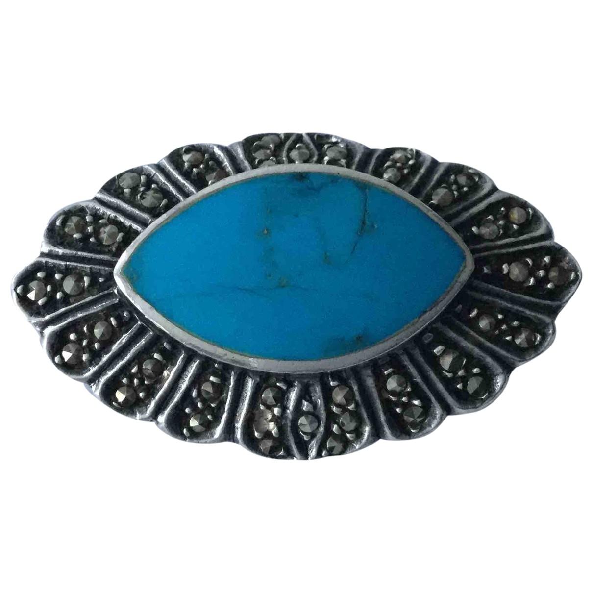 Broche Turquoises de Plata Non Signe / Unsigned