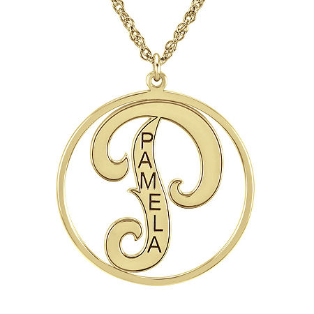 Personalized 25mm Initial and Name Circle Pendant Necklace, One Size , Yellow