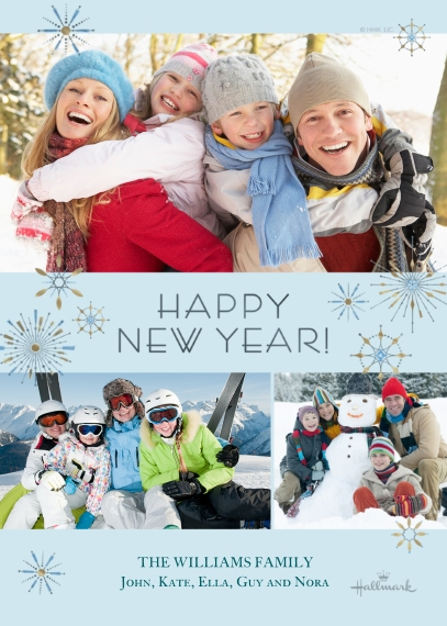 New Year's Photo Cards Mail-for-Me Premium 5x7 Flat Card, Card & Stationery -New Year Metallic Bursts