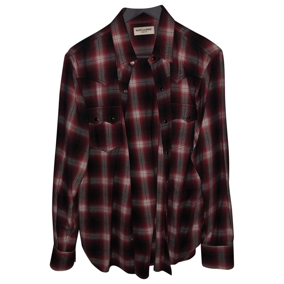 Saint Laurent \N Red Cotton Shirts for Men M International